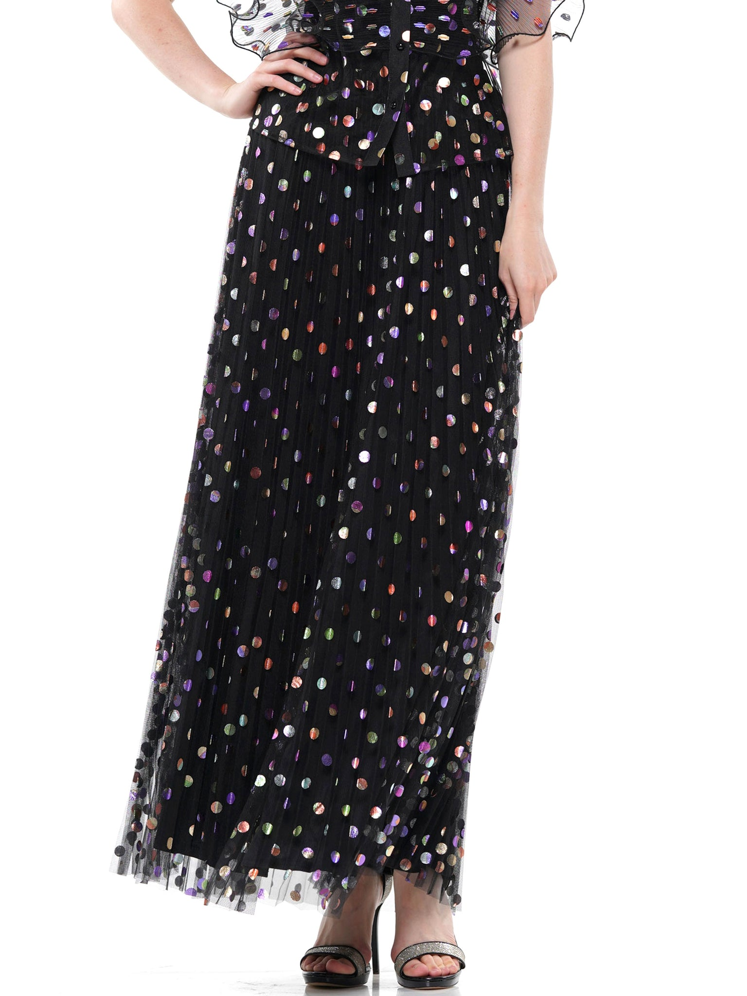 Foil print pleated maxi skirt