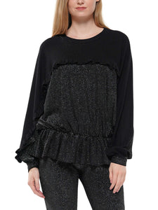 Dolman sleeve ruffle sweater
