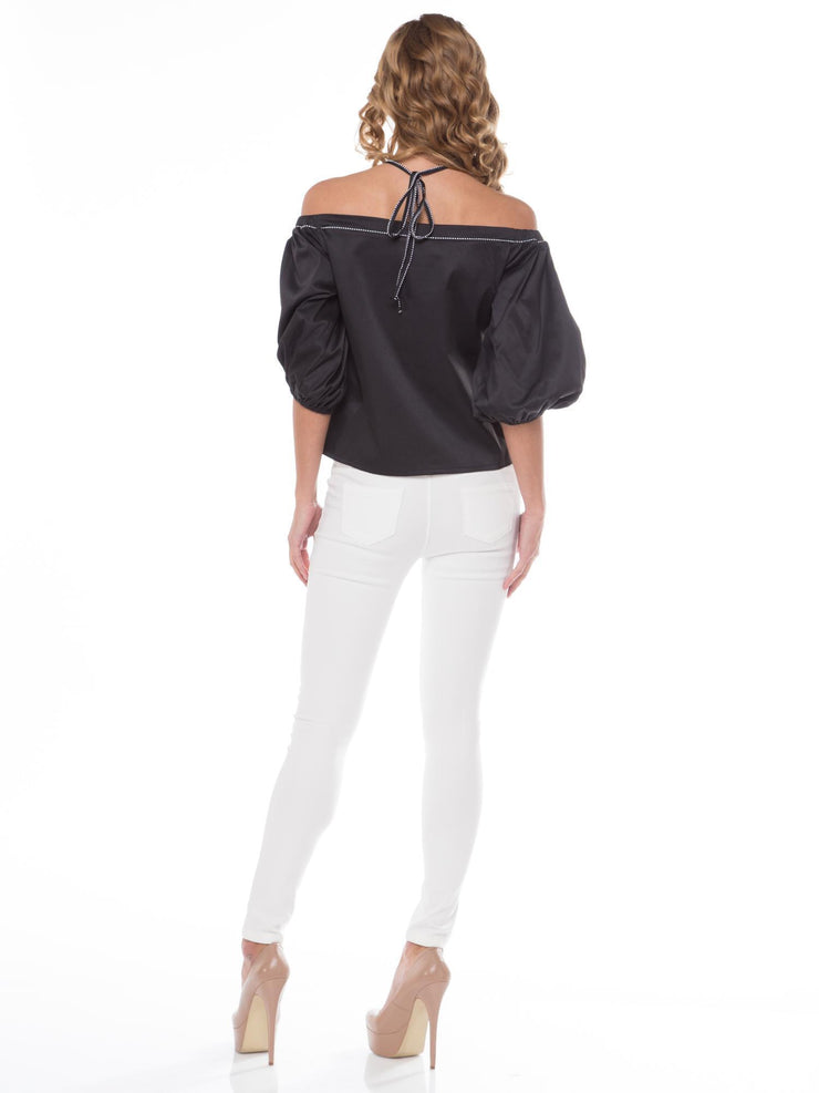 OFF SHOULDER HALTER-NECK BALLOON SLEEVE TOP | Why Dress