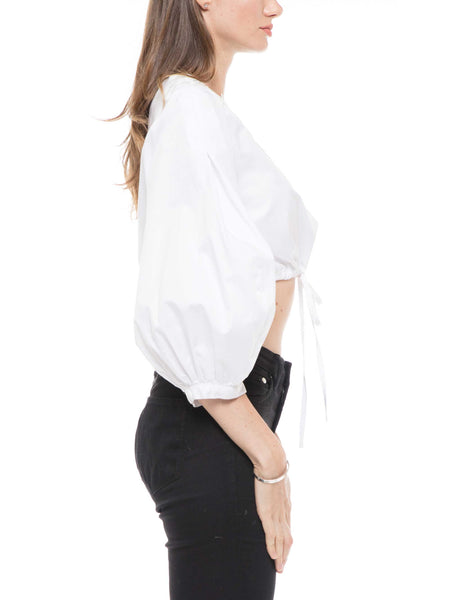 Bishop sleeve strap crop top