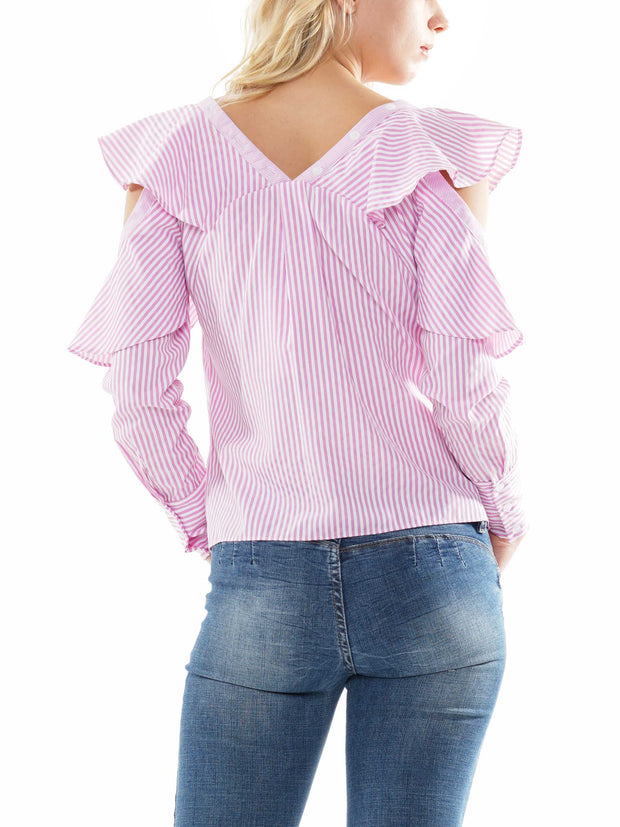 V-NECK COLD SLEEVE STRIPE SHIRT TOP | Why Dress