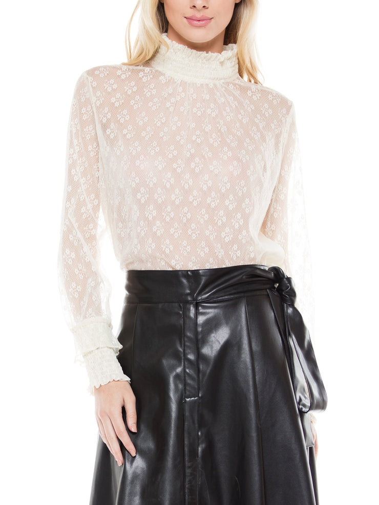 China neck long sleeve lace fabric blouse top