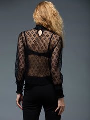 China neck long sleeve lace fabric blouse top | Why Dress