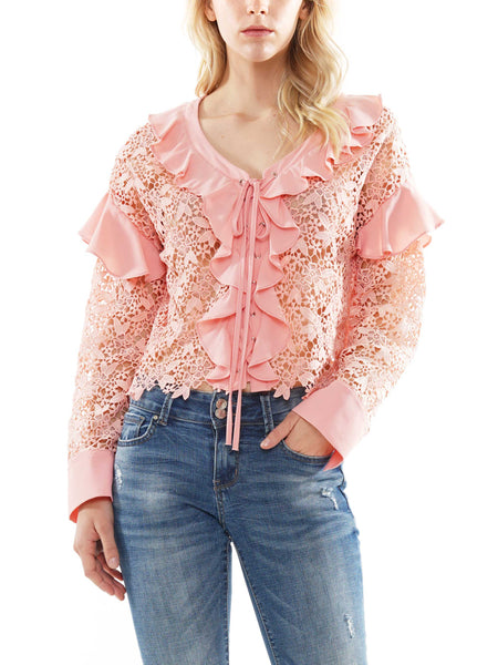 Lace lotus leaf long sleeve blouse