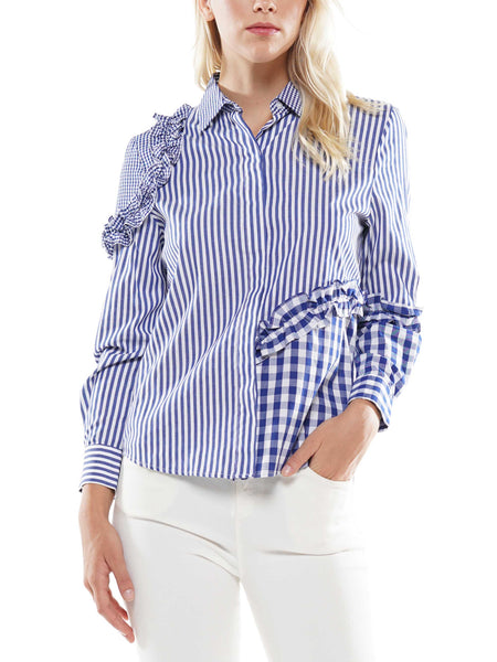 Ruffle detail stripe shirt
