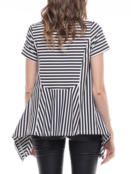 High-low cross striped top