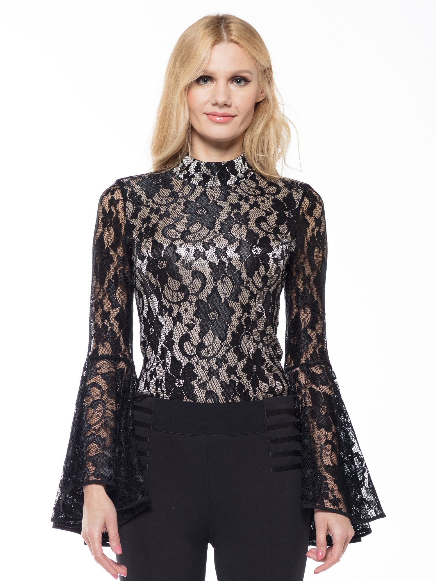 Lace fabric sleeves A line detail body suit | Why Dress