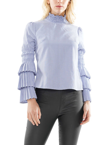 Stripe fabric pleat detail top
