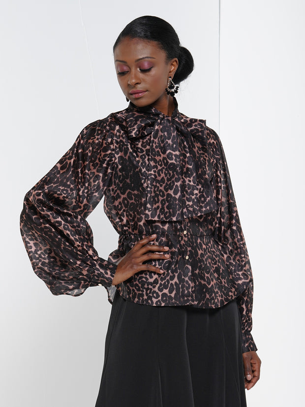 Leopard pattern fabric puff detail blouse top. | Why Dress