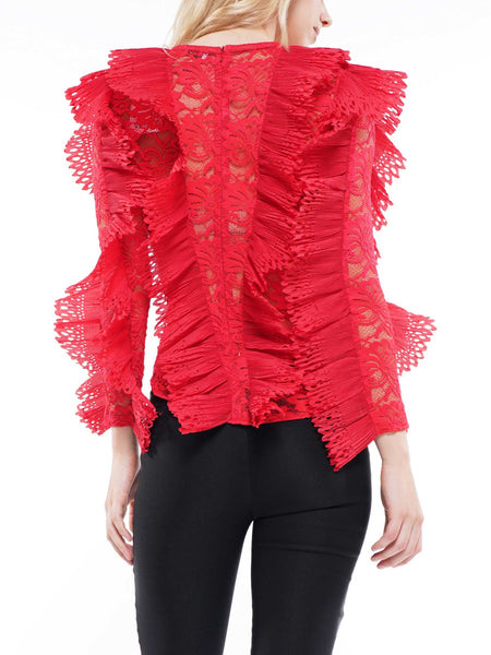 Lace ruffle detail blouse top