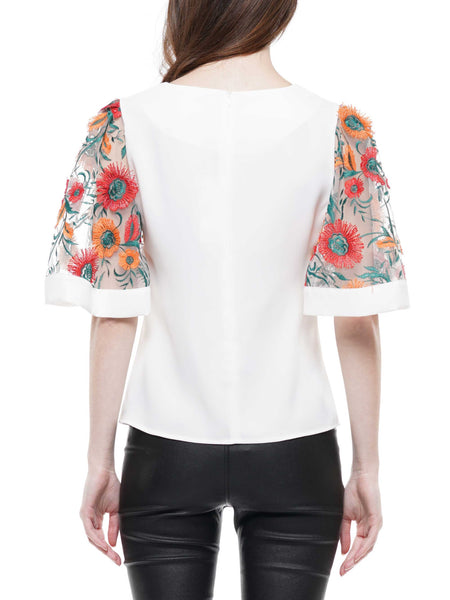 Mesh embroidery sleeve top