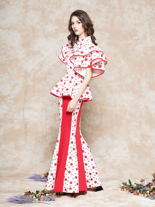 Dot Pattern Scuba Fabric Long Skirt | Why Dress