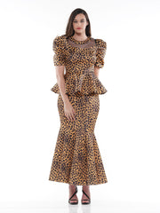 LEOPARD PRINTED PEPLUM TOP WITH PUFF SLEEVES | Why Dress