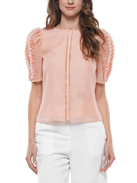 Crinkled organza detailed sleeve top