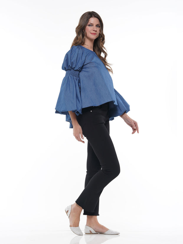CHAMBRAY HILO PUFF SLEEVE TOP - Why Dress