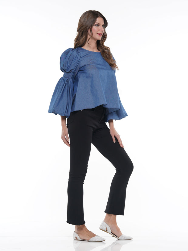 CHAMBRAY HILO PUFF SLEEVE TOP | Why Dress