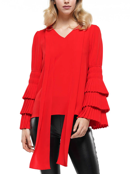 Tie neck and pleated sleeve top
