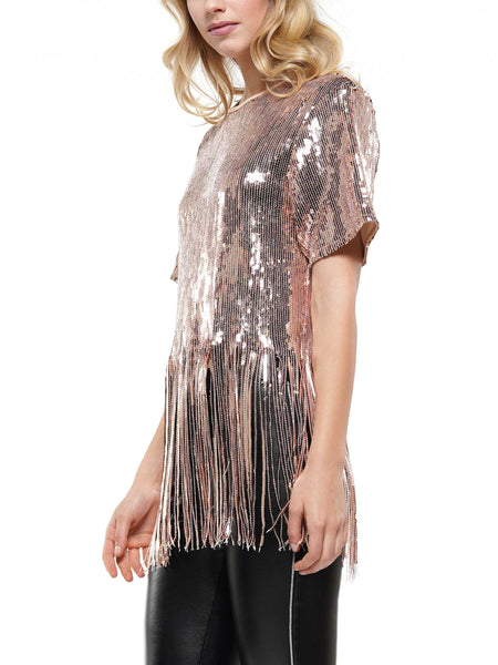 Fringe trim sequin top