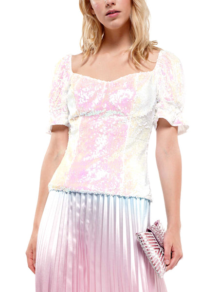Sequin puff sleeve top