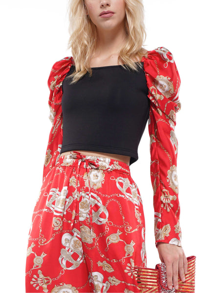 Scarf printed puff sleeve crop top