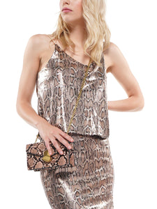 Snake pattern sequin fabric camisole top