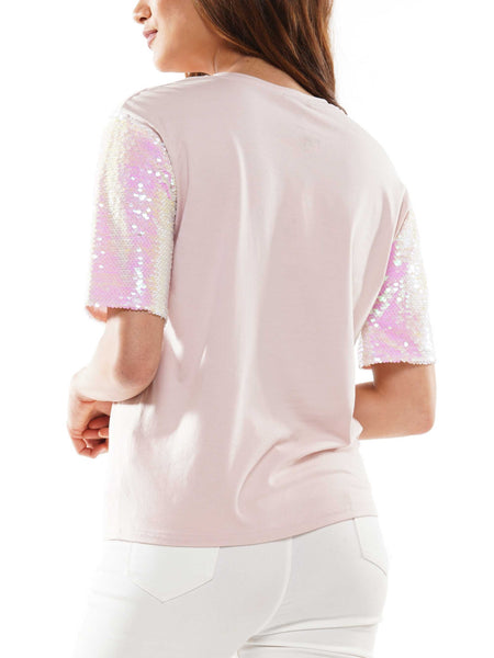 Sequin sleeve screen printed t-shirt