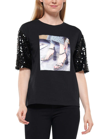 Sequin sleeve shoe patch t-shirt