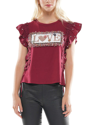 'Love' shirred frill top
