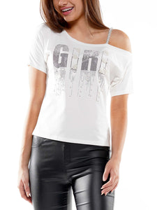 """Girl"" gem stone t-shirt"