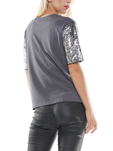 Sequin sleeve graphic t-shirt