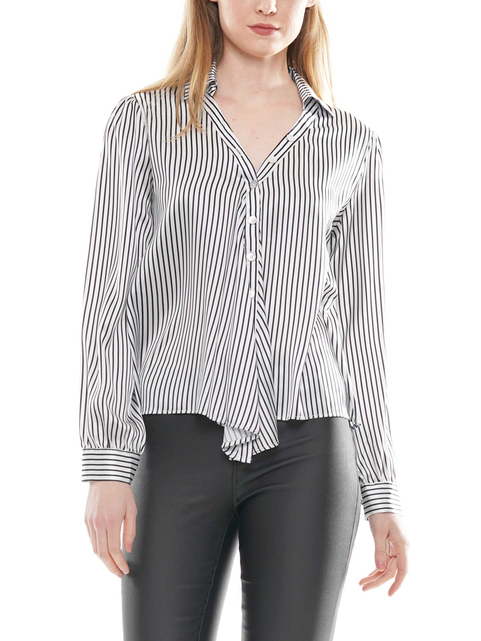 Asymmetric striped blouse