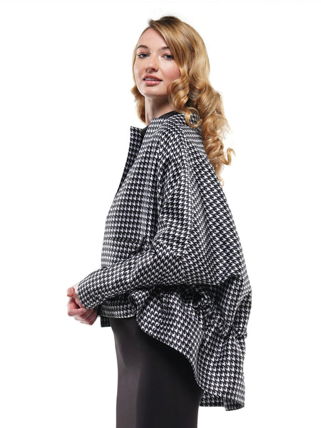 HOUNDSTOOTH PATTERN KNIT ELBOW PATCHES JACKET | Why Dress