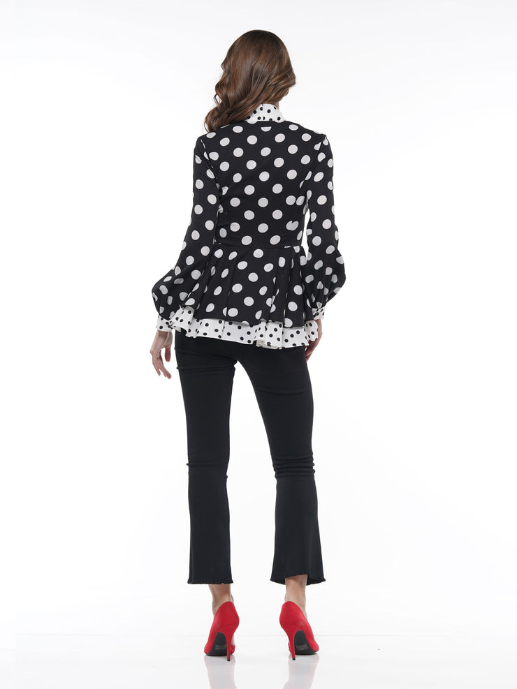 POLKA DOT BLOUSE WITH CONTRAST TIE AT NECK | Why Dress