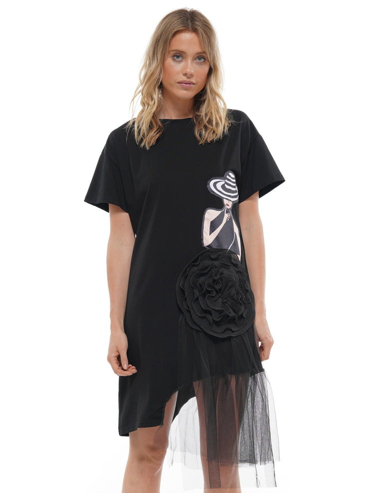 PRINTED SHORT SLEEVE SPLICING IRREGULAR MESH DRESS | Why Dress