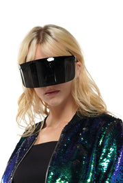 OVERSIZE SHIELD VISOR FLAT TOP MIRRORED SUNGLASSES | Why Dress