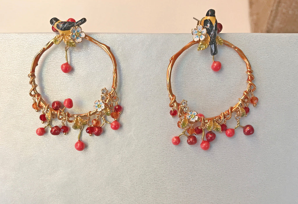 The Blue bird hoop earrings
