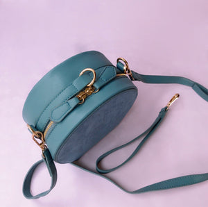2 way round suede bag in moss green