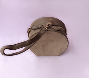 2 way round suede bag in Mocha