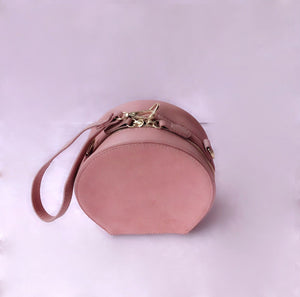2 way round suede bag in pink