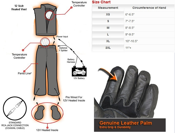 Venture 12V Heated Motorcycle Gloves