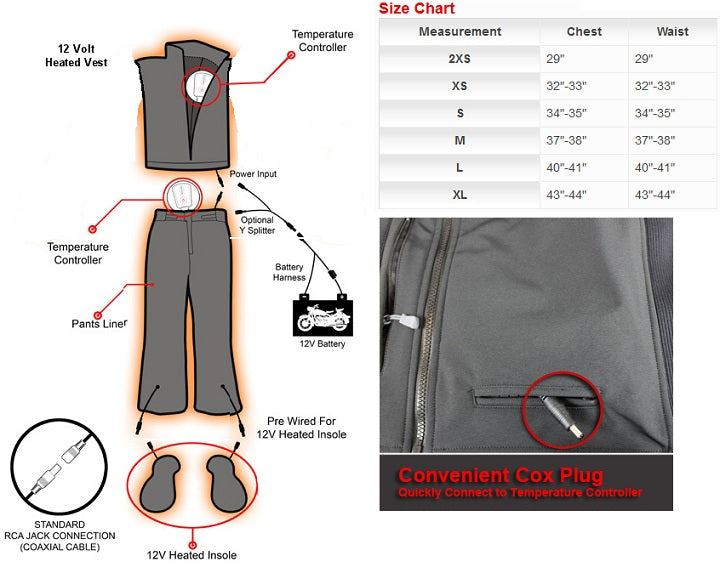 Venture Heated Motorcycle Vest Sizing