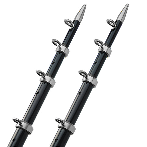 "TACO 15' Telescopic Outrigger Poles HD 1-1-2"" - Black-Silver [OT-0542BKA15-HD]"