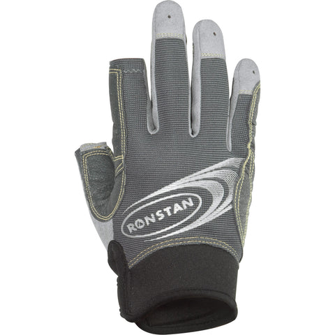 Ronstan Sticky Race Gloves w-3 Full & 2 Cut Fingers - Grey - Small [RF4881S]