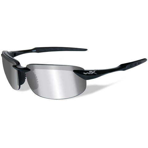 Wiley X Tobi Polarized Sunglasses - Silver Flash Lens - Gloss Black Frame [ACTOB04]