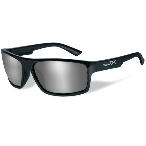 Wiley X Peak Sunglasses - Silver Flash Lens - Gloss Black Frame [ACPEA01]