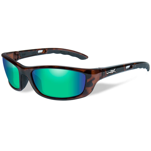 Wiley X P-17KA Polarized Sunglasses - Emerald Mirror Lens - Brown Gloss Demi Frame [P-17KA]