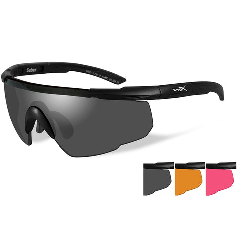 Wiley X Saber Advanced Sunglasses - Smoke Grey-Light Rust-Vermillion Lens - Matte Black Frame [309]