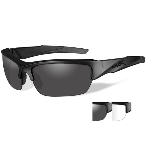 Wiley X Valor Sunglasses - Smoke Grey-Clear Lens - Matte Black Frame [CHVAL07]