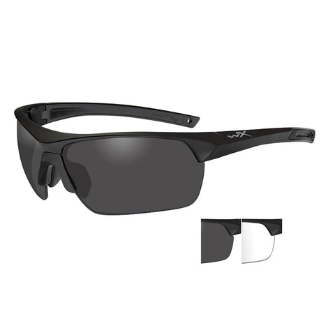 Wiley X Guard Advanced Sunglasses - Smoke Grey-Clear Lens - Matte Black Frame [4004]