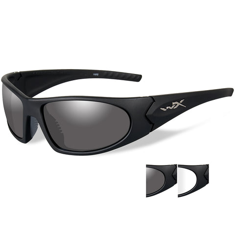 Wiley X Romer 3 Sunglasses - Smoke Grey-Clear Lens - Matte Black Frame [1004]
